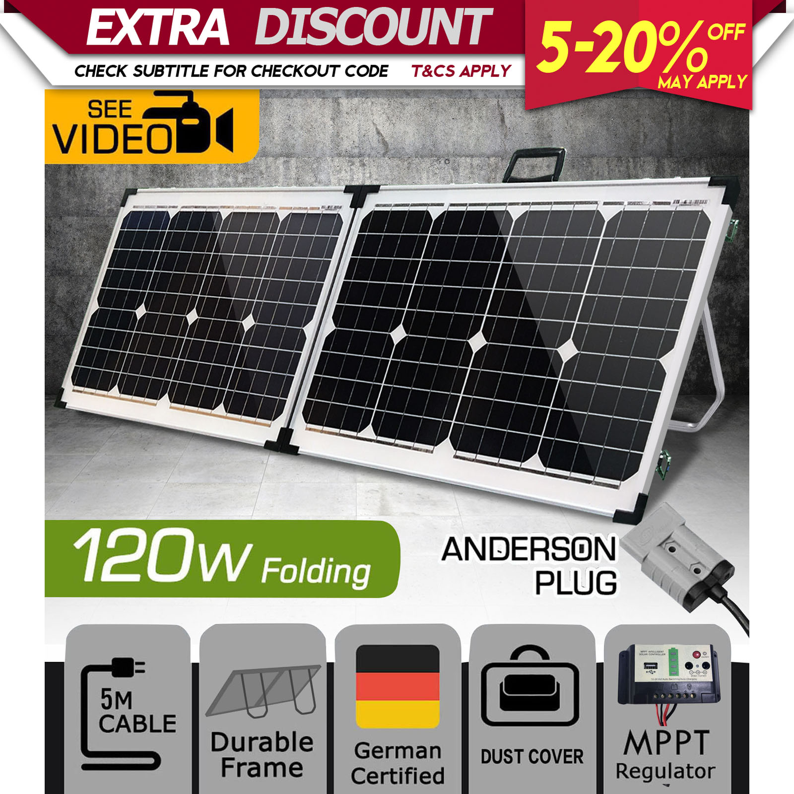 120w 12v folding solar panel kit mono camping power source. Black Bedroom Furniture Sets. Home Design Ideas